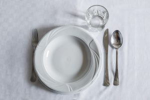 Glass, spoon, knife, fork, flat and deep plate